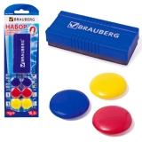 Набор для магнитно-маркерной доски BRAUBERG (магнитный стиратель, магниты 30мм-6шт. цв ассорт) на блистере