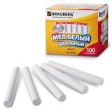 Мел школьный BRAUBERG, комплект 100шт., круглый, белый, с формулой антипыль, карт.упак.