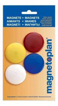 Магниты сигнальные, d=40мм, 4шт. в упаковке, разноцветные, в блистере
