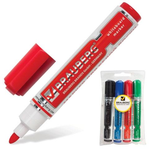 Маркеры для магнитно-маркерной доски BRAUBERG, НАБОР 4шт, *Neo*, с клипом, кругл нак. 5 мм