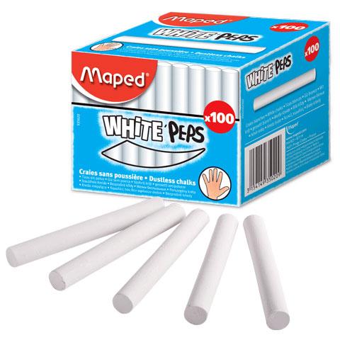 Мелки MAPED (Франция), набор 100 шт., белые, круглые, специальная формула «без пыли»