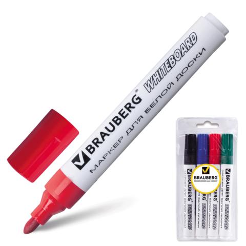 Маркеры для доски BRAUBERG (БРАУБЕРГ), набор 4 шт., классические, круглый наконечник 5 мм (черный, синий, красный, зеленый)