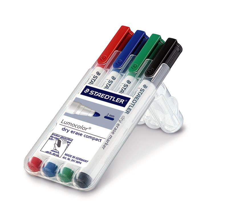 Маркер для магнитно-маркерных досок Lumocolor Compact 1-2мм, набор 4цв,Staedtler
